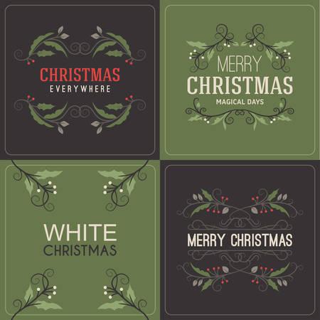 muerdago: Conjunto de saludos de Navidad Postal decorativa con mu�rdago Branch, bayas y Elementos de dise�o tipogr�fico. Dibujado a mano ilustraci�n vectorial