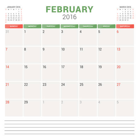 planner: Calendar Planner 2016. Vector Flat Design Template. February. Week Starts Sunday