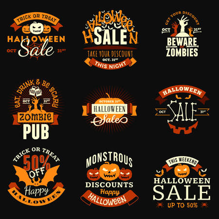 Set of Vintage Happy Halloween Badges, Stickers, Labels. Vector Design Elements for Greetings Card, Party Flyer and Promotional Materials. Vector Illustration Ilustração
