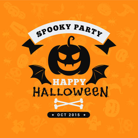 Retro Happy Halloween Badge, Sticker, Label. Design Element for Greetings Card or Party Flyer. Vector Illustration 向量圖像