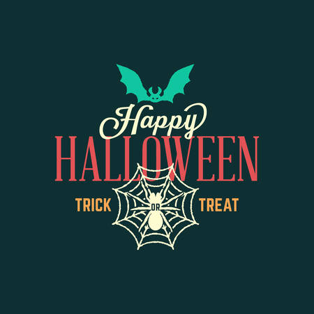 Retro Happy Halloween Badge, Sticker, Label. Design Element for Greetings Card or Party Flyer. Vector Illustration Illustration