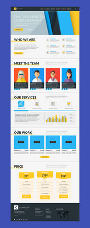 website buttons: One Page Website Vector Design Template in Flat Style Illustration