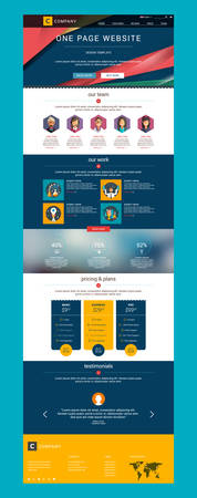 One Page Website Vector Design Template in Flat Style Illustration