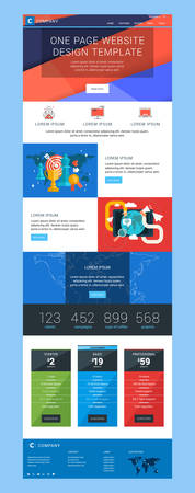 team concept: One Page Website Vector Design Template in Flat Style Illustration