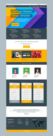 color pages: One Page Website Vector Design Template in Flat Style Illustration