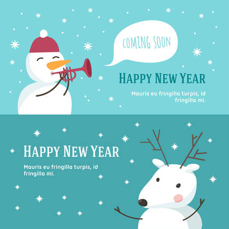 snowman background: Christmas and New Year Cute Hand Drawn Vector Decorative Design Elements with Cartoon Characters. Vector Template for Greeting Postcard or Promotional Web Banner