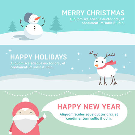 festive background: Christmas and New Year Cute Hand Drawn Vector Decorative Design Elements with Cartoon Characters. Vector Template for Greeting Postcard or Promotional Web Banner
