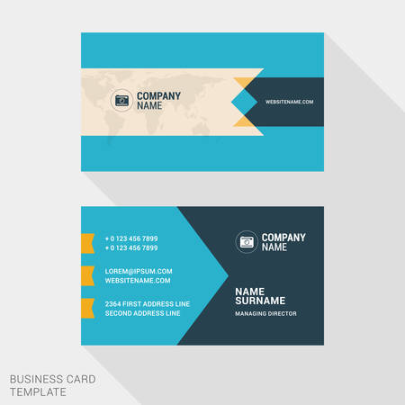 business card template: Vector Design Modern Creative and Clean Business Card Template. Flat Design Vector Illustration