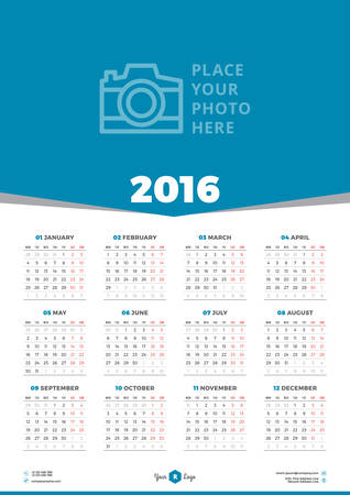 calendar september: Calendar 2016 Vector Design Template. Week Starts Monday Illustration