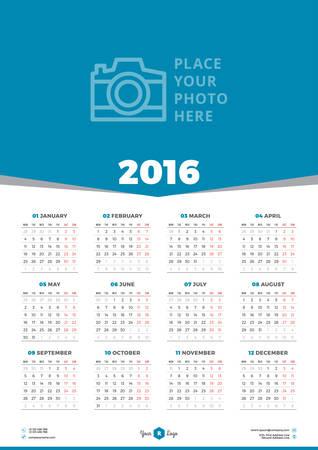 kalendarz: Wektor kalendarz 2016 Szablon. Tydzień zaczyna się w poniedziałek