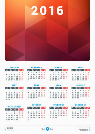 portrait orientation: Calendar for 2016 Year. Vector Stationery Design Template with Place for Photo. Portrait Orientation. Week Starts Monday