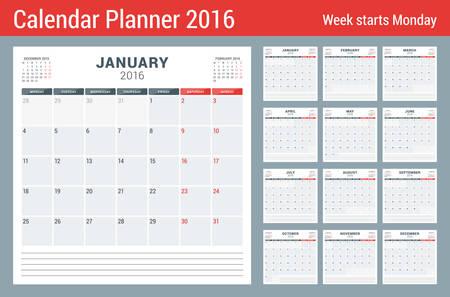 2016 年度カレンダー プランナー。文房具のベクトル デザイン印刷テンプレートです。ノートのための場所の正方形のページ。ページに 3 ヶ月。月曜