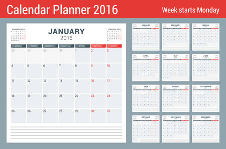 diciembre: Calendario del planificador para el 2016 Año. Vector Papelería Diseño Plantilla de impresión. Páginas cuadrados con lugar para Notas. 3 Meses de página. La semana comienza el lunes. 12 meses