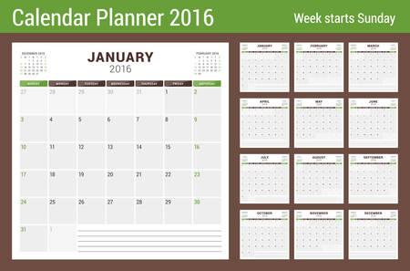 2016 年度カレンダー プランナー。文房具のベクトル デザイン印刷テンプレートです。ノートのための場所の正方形のページ。ページに 3 ヶ月。週は