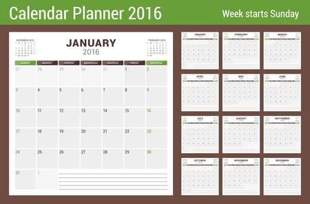 Calendar Planner for 2016 Year. Vector Stationery Design Print Template. Square Pages with Place for Notes. 3 Months on Page. Week Starts Sunday. 12 Months