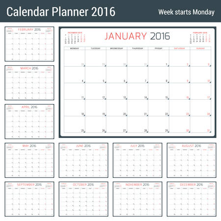 months of the year: Calendar Planner for 2016 Year. Vector Stationery Design Template. 3 Months on Page. Week Starts Monday. 12 Months Illustration