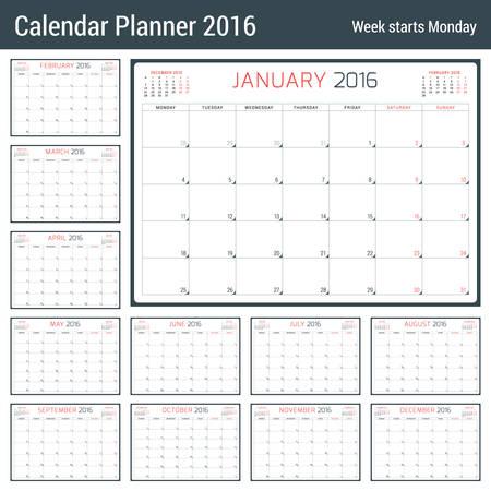 meses del año: Calendario del planificador para el 2016 Año. Vector papelería plantilla de diseño. 3 Meses de página. La semana comienza el lunes. 12 meses
