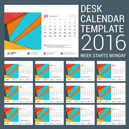 business desk: Desk Calendar for 2016 Year. Vector Stationery Design Template with Place for Photo. Week Starts Monday. 12 Months Illustration