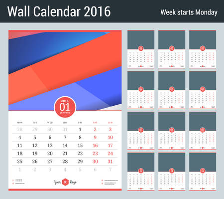 Wall Calendar For 2016 Year Vector Stationery Design Template
