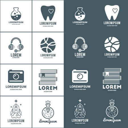 jing: Set of Vector Logo Templates. Positive and Negative Versions. Dentist, Support, Lab, Photographer, Bookstore, Startup, Pizzeria Illustration