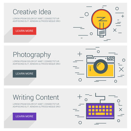 content writing: Creative Idea. Photography. Writing Content. Line Art Flat Design Illustration. Vector Web Banners Concepts