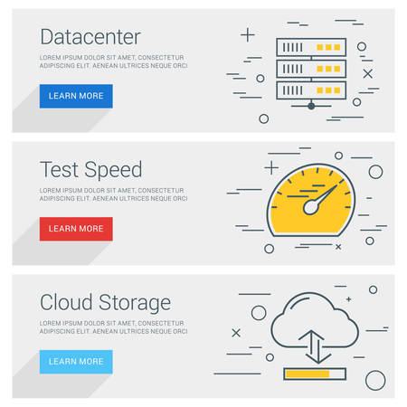 icons business: Datacenter. Test Speed. Cloud Storage. Line Art Flat Design Illustration. Vector Web Banners Concepts