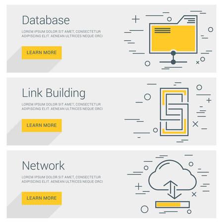 link building: Database. Link Building. Network. Line Art Flat Design Illustration. Vector Web Banners Concepts