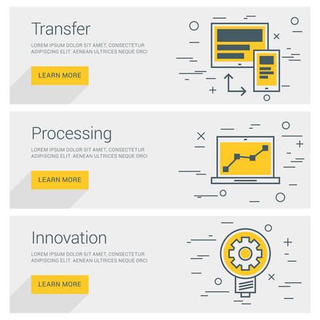 art processing: Transfer Data. Processing. Innovation. Line Art Flat Design Illustration. Vector Web Banners Concepts