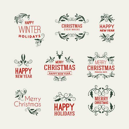 mistletoe: Conjunto de saludos de Navidad Postal decorativa con muérdago Branch, bayas y Elementos de diseño tipográfico. Dibujado a mano ilustración vectorial