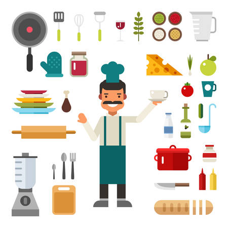 modern kitchen design: Set of Vector Icons and Illustrations in Flat Design Style. Profession Chef. Male Cartoon Character Surrounded by Kitchen Appliances and Food