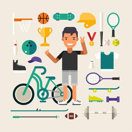balones deportivos: Conjunto de vectores iconos e ilustraciones en Diseño plana del estilo. Hombre personaje de dibujos animados de deporte rodeado de equipamiento deportivo