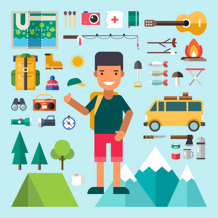 fishing equipment: Set of Vector Icons and Illustrations in Flat Design Style. Male Cartoon Character Traveler Surrounded by Tourist Equipment