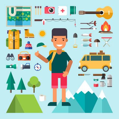 brandweer cartoon: Set van vector iconen en illustraties in Flat Design Style. Man stripfiguur Traveler Omringd door Tourist Equipment