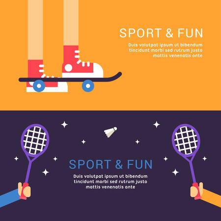 skatepark: Sport and Fun. Skateboard and Badminton. Vector Illustration in Flat Design Style for Web Banners or Promotional Materials