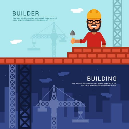 stone mason: Builder and Building. Vector Illustration in Flat Design Style for Web Banners or Promotional Materials