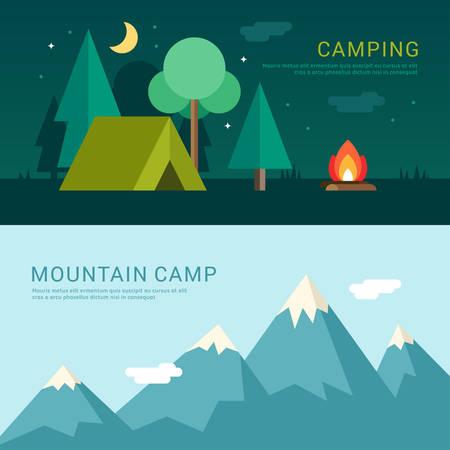 야영 및 산악 캠프. 웹 배너 또는 홍보물 플랫 디자인 스타일에서 벡터 일러스트 레이 션