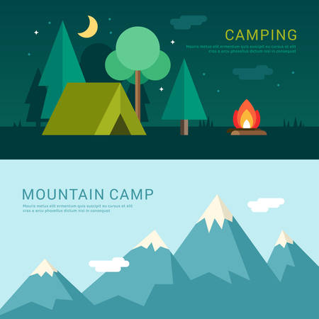 Camping and Mountain Camp. Vector Illustration in Flat Design Style for Web Banners or Promotional Materials Vectores