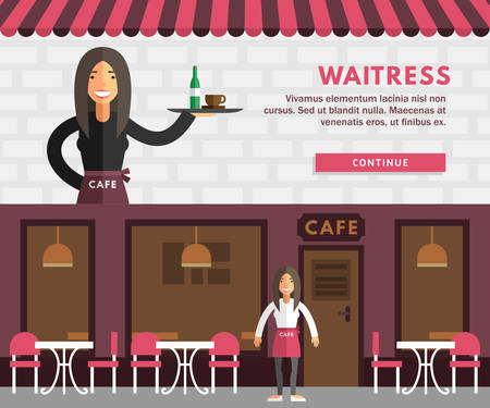 woman washing hair: Profession Concept. Waitress. Flat Design Concepts for Web Banners and Promotional Materials