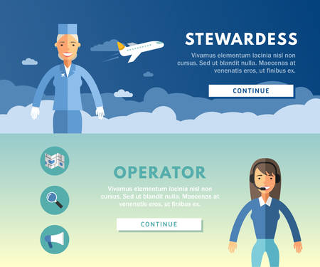 stewardess: Profession Concept. Stewardess and Operator. Flat Design Concepts for Web Banners and Promotional Materials