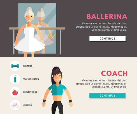 knot work: Profession Concept. Ballerina and Coach. Flat Design Concepts for Web Banners and Promotional Materials