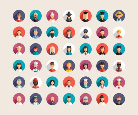 profesiones: Conjunto de Piso Profesional de diseño Gente Avatar Iconos con larga sombra. Hombres y Mujeres Vectores