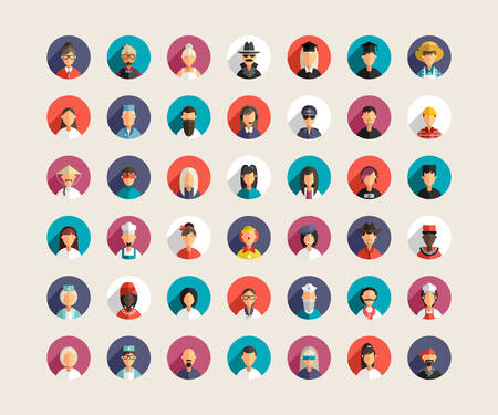 male face profile: Set of Flat Design Professional People Avatar Icons with Long Shadow. Mens and Women