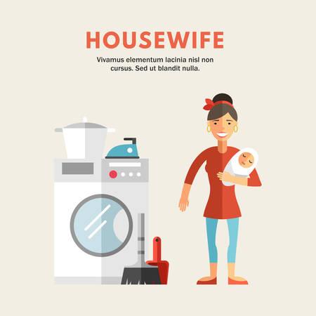 wash hand stand: Flat Design Vector Illustration of Housewife. Infographic Design Elements Illustration