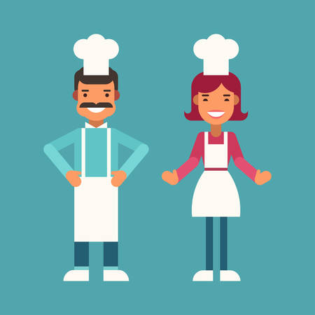 profession: Profession Concept. Cook. Male and Female Cartoon Characters. Flat Design Vector Illustration