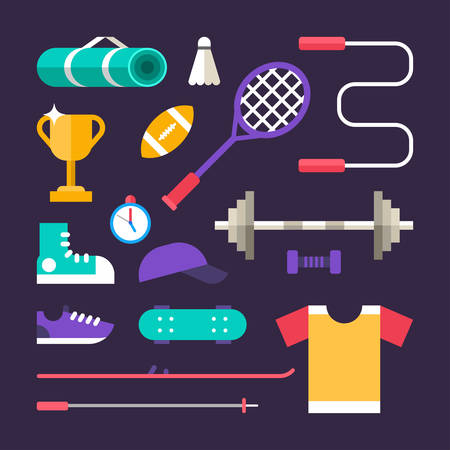Set of Vector Icons and Illustrations in Flat Design Style. Sports Equipment 向量圖像