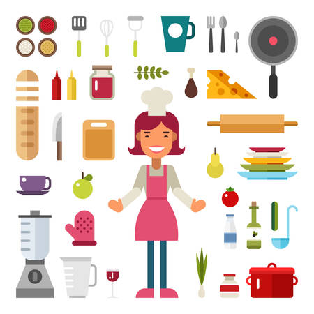 kitchen poster: Set of Vector Icons and Illustrations in Flat Design Style. Profession Chef. Female Cartoon Character Surrounded by Kitchen Appliances and Food