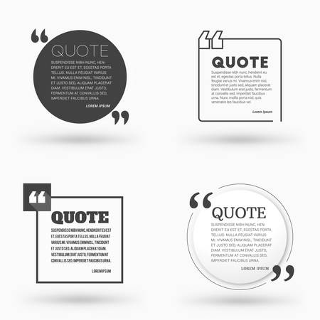 textbox: Set of Quote Blank Vector Design Templates. Vector Typographic Background Design. Quote Text Bubble Illustration