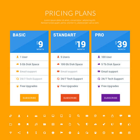 advertising column: Vector Design Template for Pricing Table with Icon Set in Flat Design Style for Websites and Applications