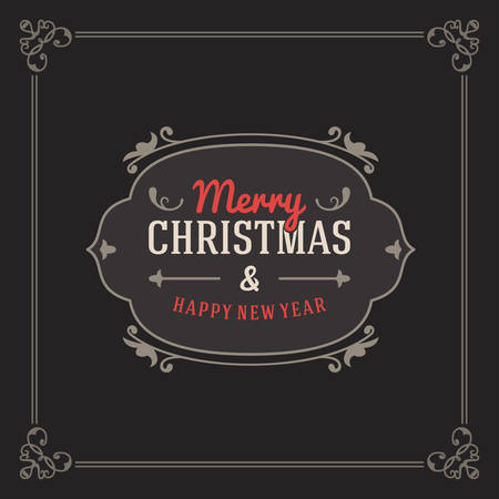 dark red: Vintage Retro Merry Christmas Greetings Badge. Vector Illustration on Dark Background