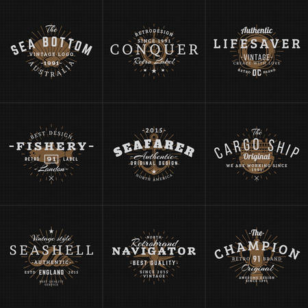 octopus: Set of Hipster Vintage Labels, Badges for Your Business. Nautical Theme - Sea, Anchor, Octopus, Ship, Fish, Shell. Vector Illustration on Dark Textured Background